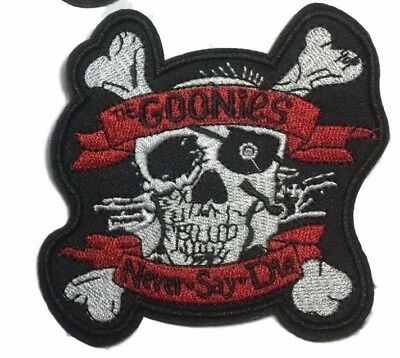 Goonies Movie Never Say Die Skull Face 3.5/'/' Embroidered Sew or Iron on Badge