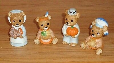 Homco THANKSGIVING BEARS Figurines Set of 4 Autumn