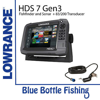 NEW Lowrance HDS 7 Gen 3 Touch + 83/200 Transducer from Blue Bottle Fishing