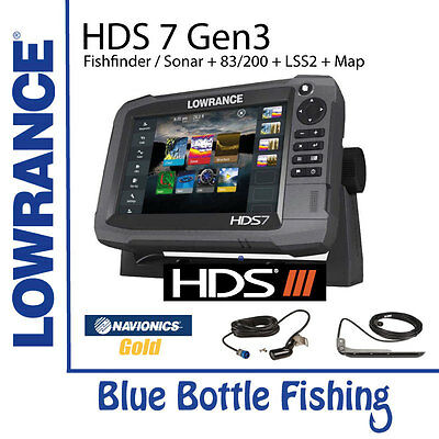 Lowrance HDS 7 Gen 3 Touch + 83/200 & LSS2 Transducers + Navionics Plus XG50 Map