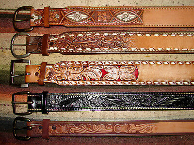 Vintage Buckstitch & Tooled Leather Western Belt Size 30 Lot Of 10 New