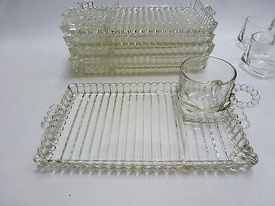 Orchard Crystal Set/6 Snack Party Set Trays Cups Hob Nail Bubbles 12 Piece GC