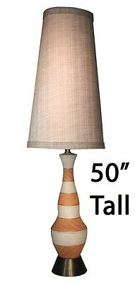 "Vintage Ceramic 50"" Table Lamp Tall Drum Linen Shade Mid Century Modern Retro"