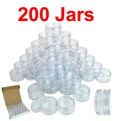 200 Packs 10 Gram/10ML High Quality Cream Cosmetic Sample Clear Jar Containers