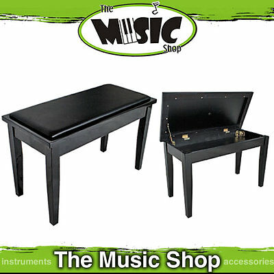 New Black AMS Piano Keyboard Stool with Book Compartment - Polished Ebony KTW11