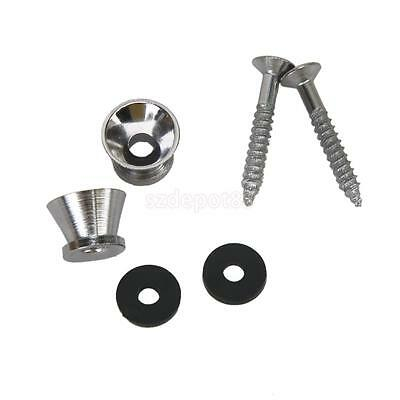 Pair Chrome Plated STRAP LOCK w Screws Pad for Electric Acoustic Guitar Bass