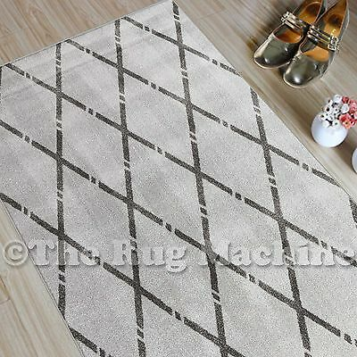 CHICAGO GREY BLACK TRIBAL DIAMOND DESIGN MODERN FLOOR RUG RUNNER 80x300cm **NEW*