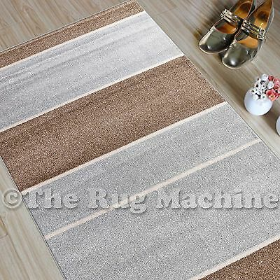 CHICAGO BEIGE GREY THICK STRIPES DESIGN MODERN FLOOR RUG RUNNER 80x300cm **NEW**