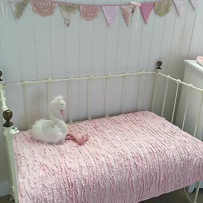 Pink Frill Shabby Chic Cotton Girls Nursery Cot Quilt Linens N Things Lulu