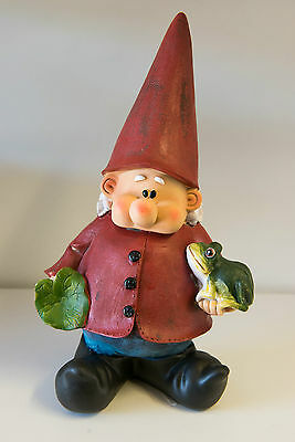 Outdoor Garden Resin Gnome Ornament Animal Gift Standing Red Hat Frog Coat