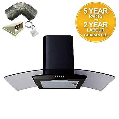 SIA CPL91BL 90cm Curved Glass Black Chimney Cooker Hood Extractor Fan 1m Ducting