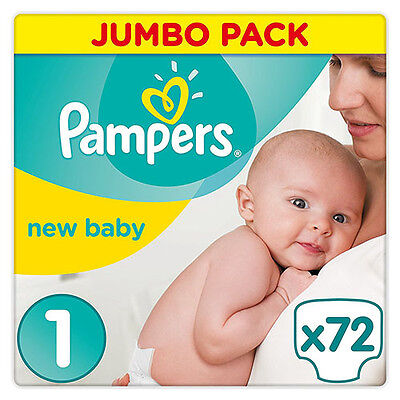 Pampers New Baby Jumbo Nappies Size 1 Newborn Pack of 72 Nappies 2-5 kg