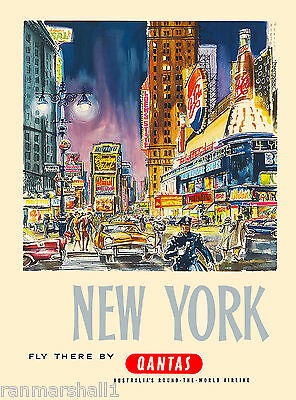 New York Fly By Qantas United States of America Travel Advertisement Art Poster