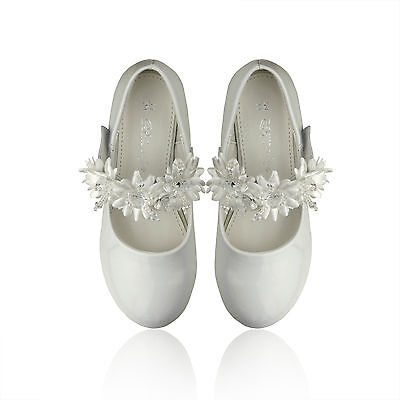 NEW Flower Girls Dress Shoes Kids Teens Patent Mary-Jane Wedding Formal in White