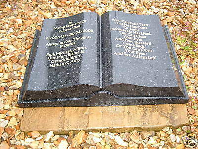 Large Book Shaped Memorial Stone (Solid)
