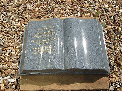 Stunning Book Shaped Memorial Stone/ Gravestone Personalised  (In Grey)