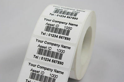 500 Personalised Barcode Asset Labels 51 x 25mm Tough Stickers Scratch Proof