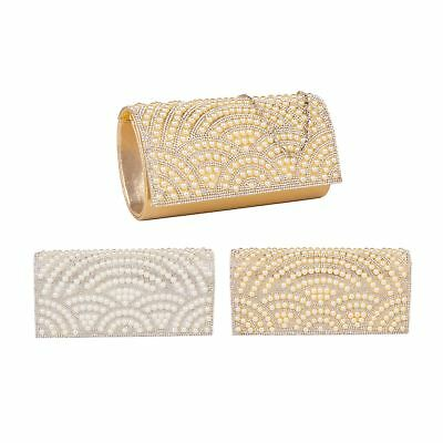 New Pearl Crystal Diamante Beaded Clutch Bag Wedding Prom Evening Handbag