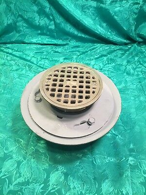 "2"" Smith USA Made Tapped Cast Iron Floor Drain Nickel Bronze Top Push On Gasket"