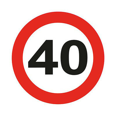 40Th Birthday Giant 12Cm Flashing Led Badge Traffic Sign Age Party