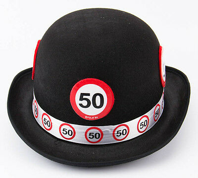 50Th Birthday Black Bowler Hat Traffic Sign Age Party