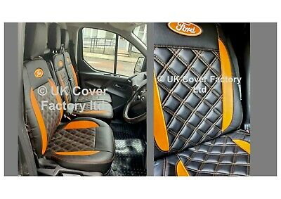 Ford Transit Custom Van Seat Cover Leather Trims Single+Double P50Bk  In Stock!!