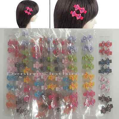 96pcs Baby Toddler Girls Kids Boutique Grosgrain Flower Hair Bows w/Clips Lots