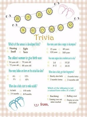 Baby Shower Baby Trivia Game 20 A5 Game Sheets 1 99 Picclick Uk