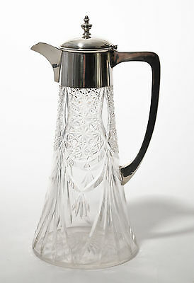 Antique Edwardian Cut Glass and Sheffield Solid Silver Claret Wine Jug/Decanter
