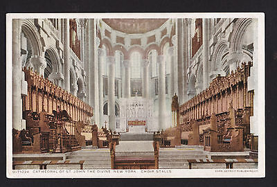 c1912 interior Choir Cathedral of St.John The Divine New York City postcard