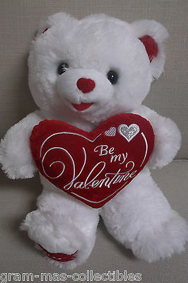 """Sweetheart Teddy Bear White Plush Holds Heart Says """"be My Valentine"""" 2016 18 In"""