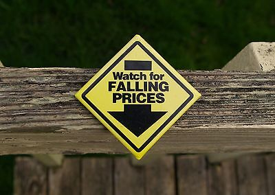 """Wal-Mart Watch For Falling Prices 2 1/8"""" Employee Yellow Caution Pinback Button"""