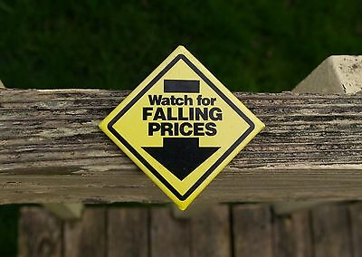 "Wal-Mart Watch For Falling Prices 2 1/8"" Employee Yellow Caution Pinback Button"