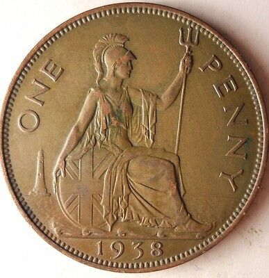 1938 GREAT BRITAIN PENNY - Excellent Vintage Coin - Britain Bin #5