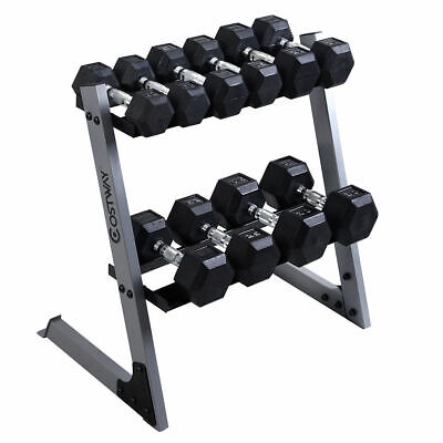2 Tier 29'' Dumbbell Weight Storage Rack Home Stand Base + Multiple Weights Set