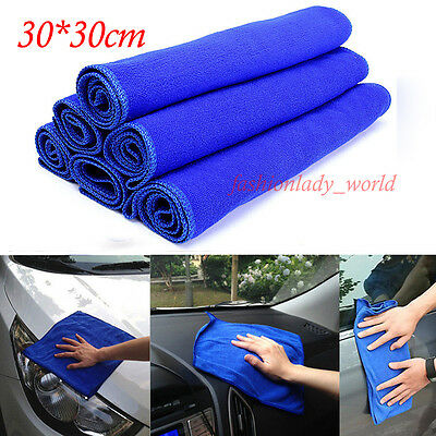 5/10PCS Blue Absorbent Wash Cloth Car Auto Care Microfiber Cleaning Towels New