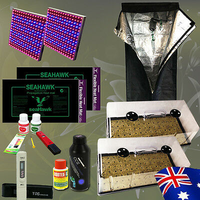 Hydroponic Grow Tent LED Light Cloning Seedling Dome Heat Mat PH Meter nutrients
