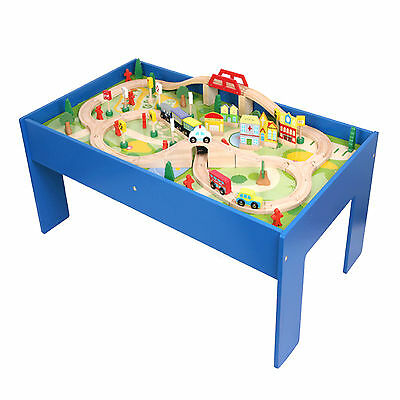 Childrens 90pc Toy Train Table Toddlers Wooden Train Set Suit Thomas The Tank