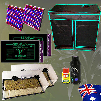 Hydroponics Grow Tent Cloning Kit LED 98 Cells Dome Heat Mat Rootex Gel Combo