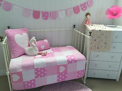 Lucy Pink Patchwork Cotton Baby Girls Nursery Cot Quilt Polka Dot Check Blanket