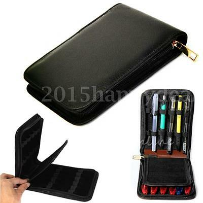 12 Pens Black Fountain Pen Roller Leather Case Holder Stationery For Student UK