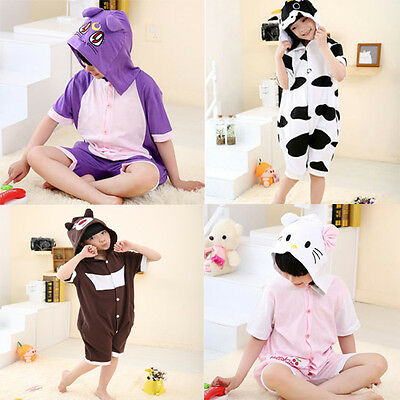 Summer Unisex Kids Pajamas Kigurumi Cosplay Costume Animal Onesie Cow Sleepwears