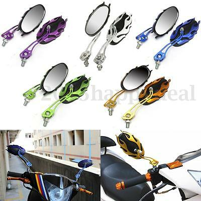 Pair Universal Alloy Aluminium 8/10mm Motorcycle Scooter Bike Rear View Mirrors