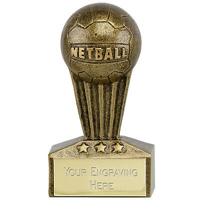 Netball Goal Shooter Attack Defence Winner Micro Star Trophy Engraved Free Resin
