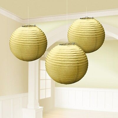 Pack of 3 Gold Paper Lanterns - 24 cm - Hollywood New Year Party Decorations