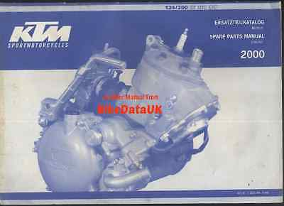 Genuine KTM 125 200 SX MXC EXC (2000) Parts List Book Catalog Manual ENGINE VMX