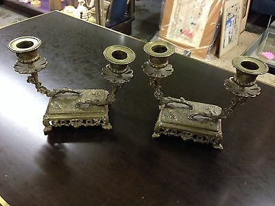 Antique French Brass Naturalistic Candlestick Pair Ornate Floral Aesthetic Mvmt