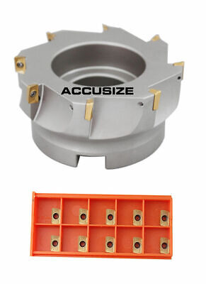"""4""""x1-1/2"""" 90 Deg. Square Shoulder Indexable Face Mill plus 18 APKT11T308 Inserts"""