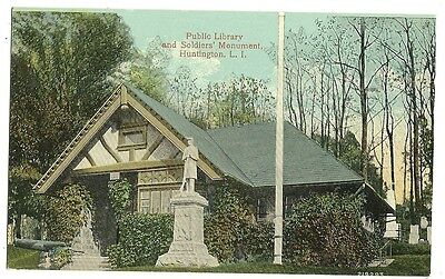 Public Library Soldiers Monument Huntington LI Long Island NY New York  Postcard