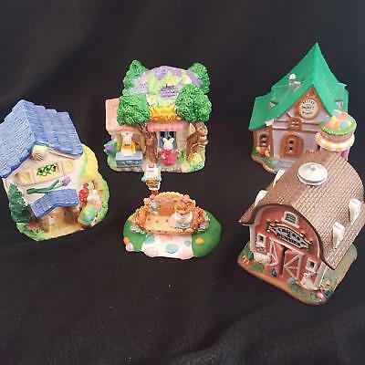 Easter Bunny on Bench Set/4 Lighted Chick & Bunnie Barn, House, Village, School